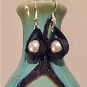 Black Leather & Pearl Earrings